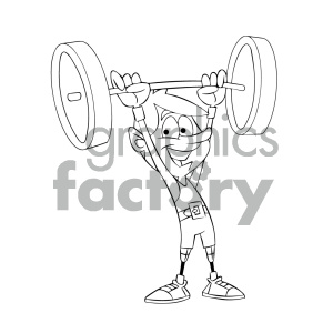 black and white cartoon weight lifters with prosthetic legs clipart. Royalty-free image # 405630