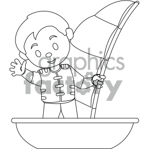 black and white coloring page boy on a boat vector illustration