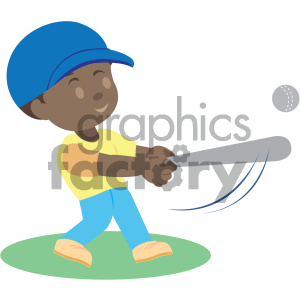 people cartoon child baseball hitting playing african+american