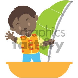 african american boy on a boat vector illustration clipart. Commercial use image # 406009