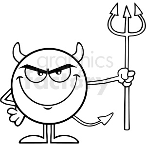 Black And White Devil Cartoon Emoji Character Holding A Pitchfork Vector Illustration Isolated On White Background clipart. Commercial use image # 406122
