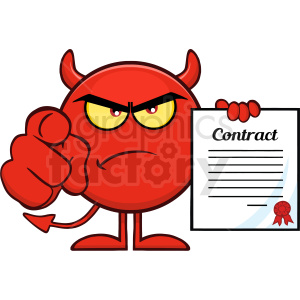 Angry Red Devil Cartoon Emoji Character Pointing With Finger And Holding A Contract Vector Illustration Isolated On White Background clipart. Royalty-free image # 406131