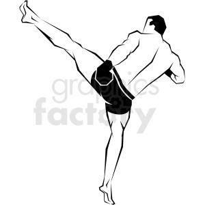 mma fighter kick vector art