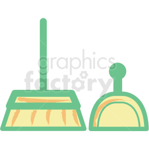 broom and dustpan flat vector icon clipart. Royalty-free image # 406305