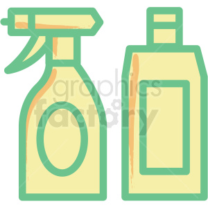 spray bottle and lotion bottle flat vector icon clipart. Commercial use image # 406337