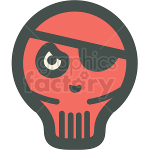 red skull with eye patch halloween vector icon image clipart. Commercial use image # 406525