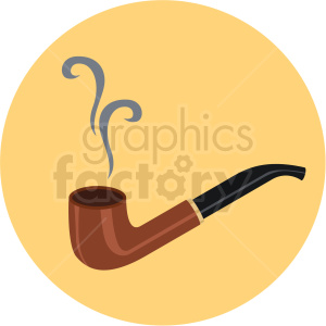 smoking pipe vector flat icon clipart with circle background clipart. Commercial use image # 406686