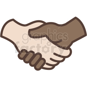 interracial handshake vector icon