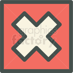red box x checked box vector icon clipart. Royalty-free image # 406879