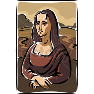 A Painting all in Brown Tones of the Mona Lisa clipart. Commercial use image # 156290