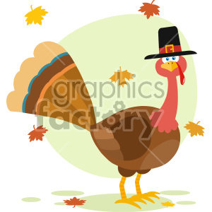 Thanksgiving Turkey Bird With Pilgrim Hat Cartoon Character Vector Illustration Flat Design Isolated On no Background With Autumn Leaves And Speech Bubble clipart. Commercial use image # 406956