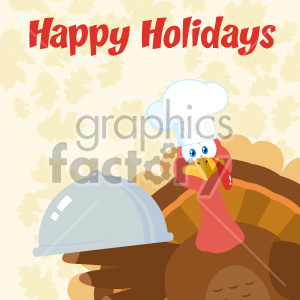 Turkey Chef Cartoon Mascot Character Peeking From A Corner And Holding A Cloche Platter Vector Illustration Flat Design Over Background With Autumn Leaves Happy Holidays clipart. Commercial use image # 406966