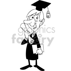 black and white cartoon guy graduating
