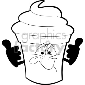black and white cartoon ice cream mascot character