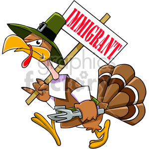 thanksgiving turkey cartoon character immigrant angry mad upset protest pilgrim bird