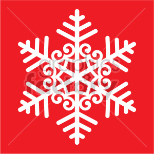 winter snowflake with spirals on red background vector clip art