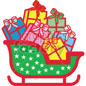 santa sleigh full of gifts vector icon clipart. Royalty-free icon # 407233