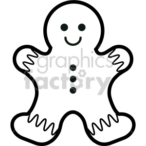 black and white gingerbread man cookie clipart clipart. Commercial use image # 407262