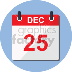 christmas calendar dec 25th on blue circle background icon clipart. Commercial use image # 407324