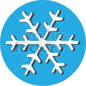 christmas snowflake on blue circle background icon clipart. Commercial use image # 407342
