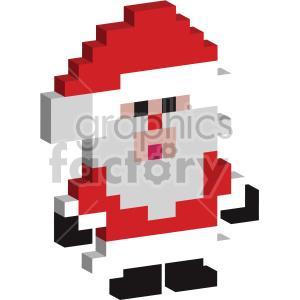 christmas 8 bit pixel 3d santa clipart. Commercial use image # 407378