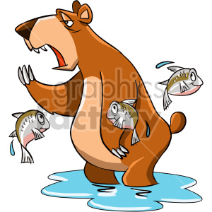 cartoon character funny tired lazy bear animals fishing hunting