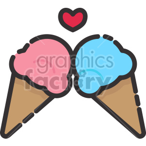 ice cream cones in love clipart. Royalty-free image # 407557