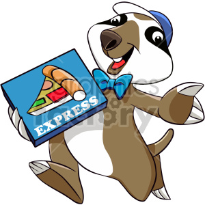 cartoon sloth character pizza deliver food dinner three+toed+sloth
