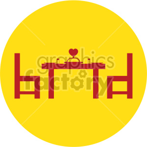dinner table for valentines on yellow background clipart. Commercial use image # 407614