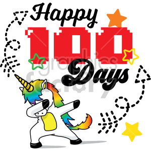 happy 100 days unicorn design clipart. Royalty-free icon # 407736