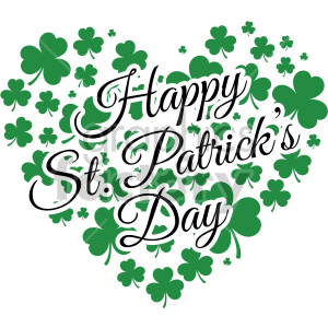 happy st patricks day shamrock heart design clipart. Commercial use image # 407750
