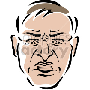 angry mans face clipart. Commercial use image # 157263