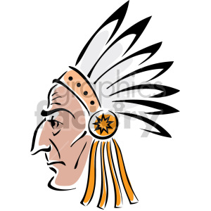 Indian chief face clipart. Royalty-free image # 157303