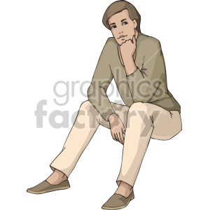 girl sitting while in deep thought clipart. Royalty-free image # 155381