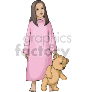 small girl holding a teddy bear clipart. Royalty-free image # 155395