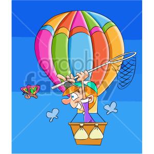 cartoon man in a hot air balloon catching butterflies