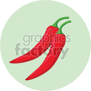 chili peppers on green circle background clipart. Commercial use image # 407978