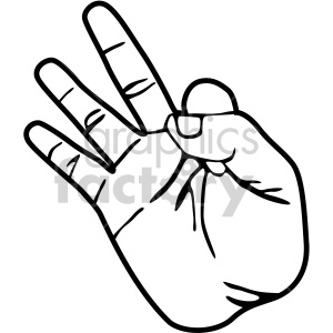 hand sign three black white