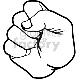 hand sign fist black white clipart. Commercial use image # 408098