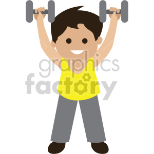 boy lifting dumbbells clipart. Royalty-free image # 408400