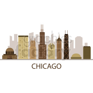 chicago city buildings vector with title clipart. Commercial use image # 408560