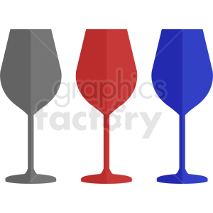 set of colorful wine glass