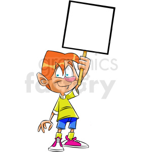 cartoon protestor holding blank sign clipart. Royalty-free image # 409306
