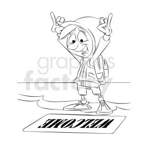 black and white cartoon refugee happy to reach shore clipart. Commercial use image # 409307