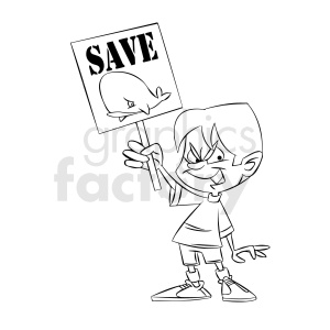 black and white cartoon protestor protesting to save the whales clipart. Commercial use image # 409308