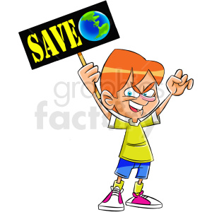 cartoon protestor protesting to save earth clipart. Royalty-free image # 409315