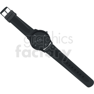 vector black wrist watch no background clipart. Royalty-free image # 409473