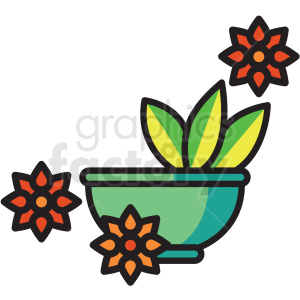 bowl with aloe vera vector icon clipart clipart. Royalty-free image # 409630