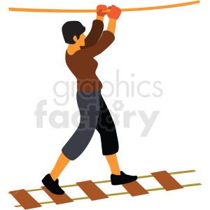 lady crossing rope bridge cartoon clipart. Royalty-free image # 409671