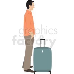man waiting in line for flight clipart. Commercial use image # 409715